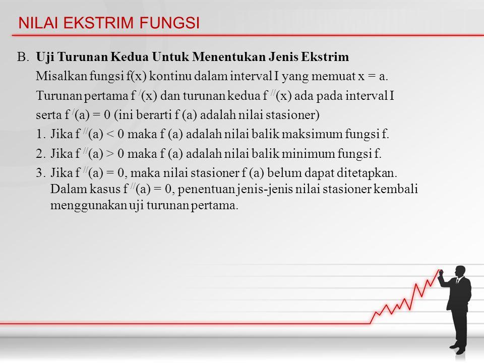 NILAI EKSTRIM FUNGSI B. Uji Turunan Kedua Untuk Menentukan Jenis Ekstrim Misalkan fungsi f(x) kontinu dalam interval I yang memuat x = a. Turunan pert