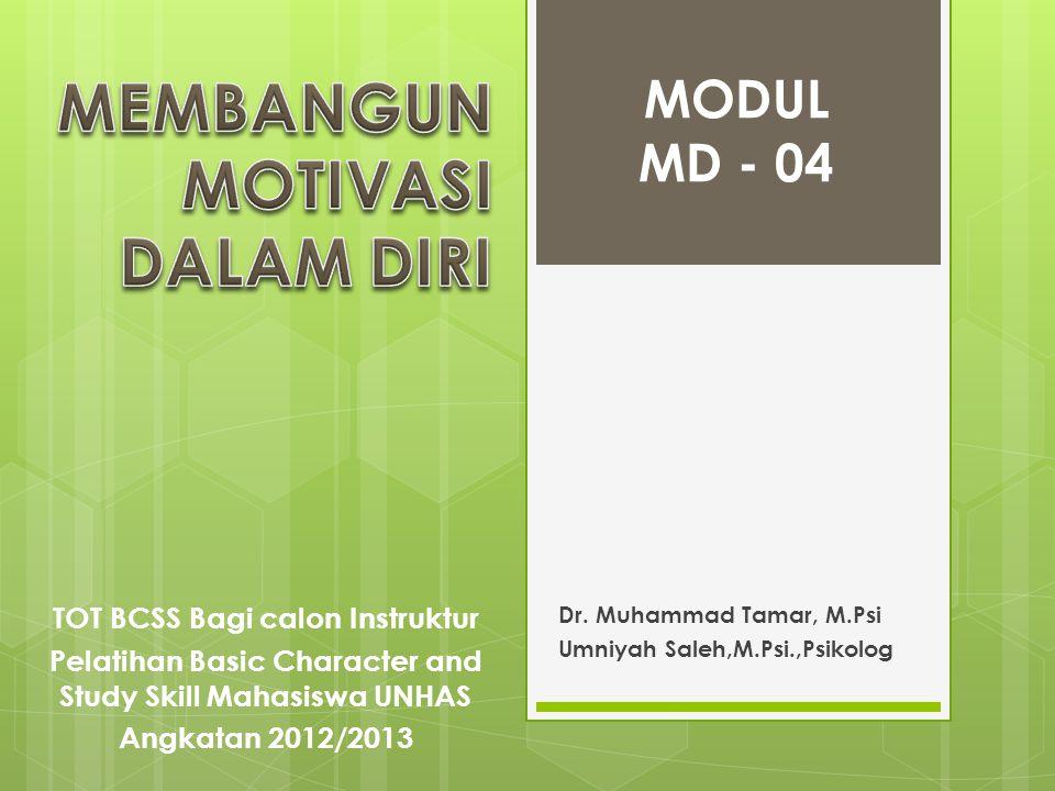Dr. Muhammad Tamar, M.Psi Umniyah Saleh,M.Psi.,Psikolog MODUL MD - 04 TOT BCSS Bagi calon Instruktur Pelatihan Basic Character and Study Skill Mahasis