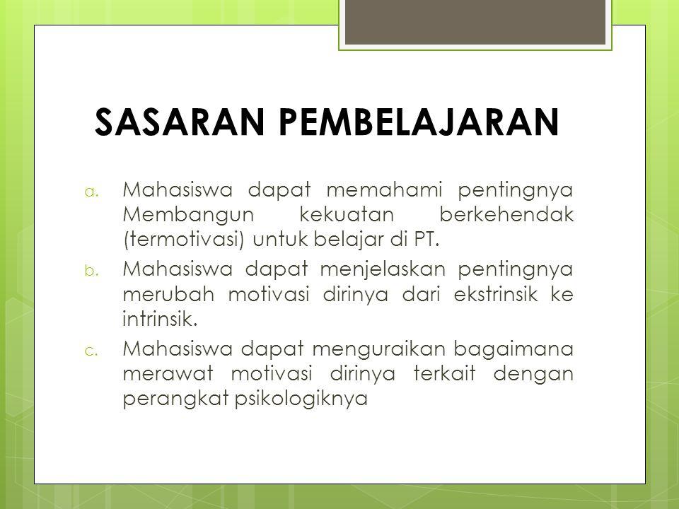 SASARAN PEMBELAJARAN a. Mahasiswa dapat memahami pentingnya Membangun kekuatan berkehendak (termotivasi) untuk belajar di PT. b. Mahasiswa dapat menje