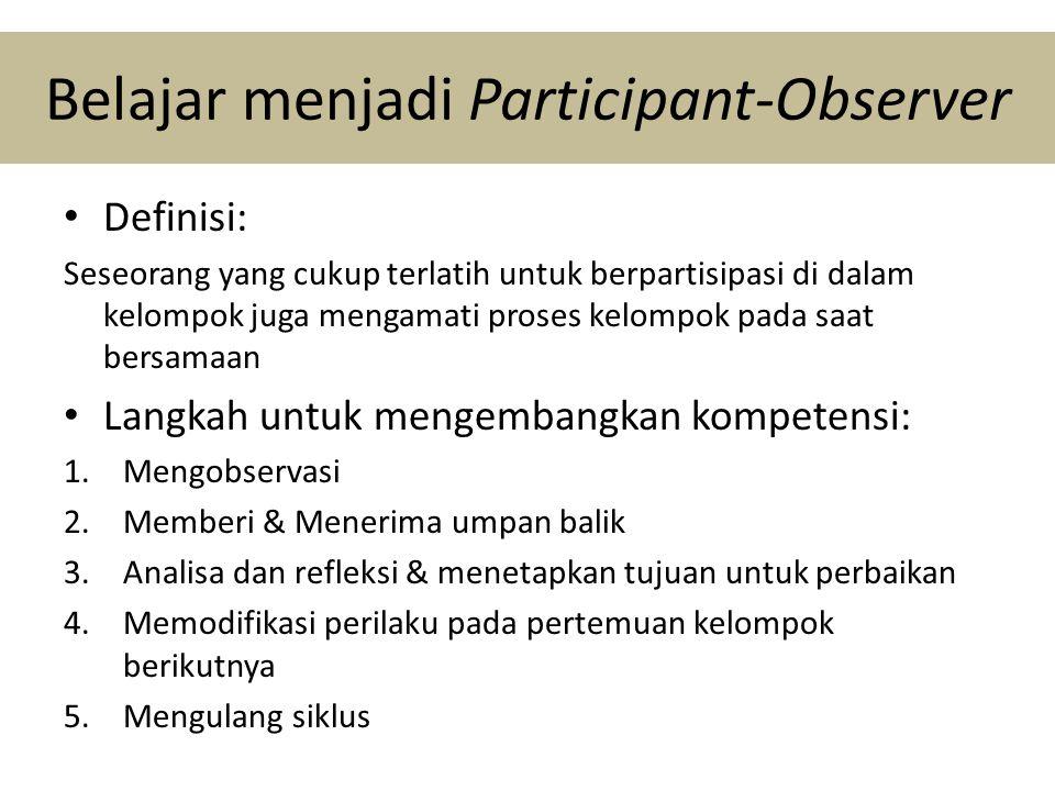Belajar menjadi Participant-Observer • Definisi: Seseorang yang cukup terlatih untuk berpartisipasi di dalam kelompok juga mengamati proses kelompok pada saat bersamaan • Langkah untuk mengembangkan kompetensi: 1.Mengobservasi 2.Memberi & Menerima umpan balik 3.Analisa dan refleksi & menetapkan tujuan untuk perbaikan 4.Memodifikasi perilaku pada pertemuan kelompok berikutnya 5.Mengulang siklus