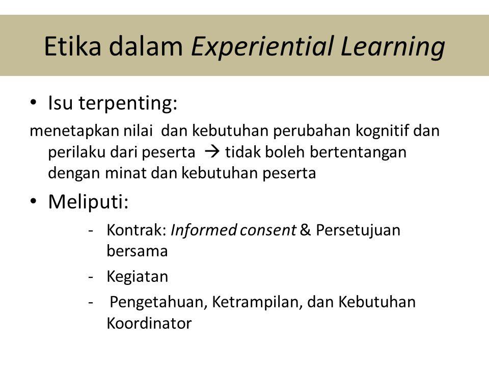 Etika dalam Experiential Learning • Isu terpenting: menetapkan nilai dan kebutuhan perubahan kognitif dan perilaku dari peserta  tidak boleh bertentangan dengan minat dan kebutuhan peserta • Meliputi: -Kontrak: Informed consent & Persetujuan bersama -Kegiatan - Pengetahuan, Ketrampilan, dan Kebutuhan Koordinator
