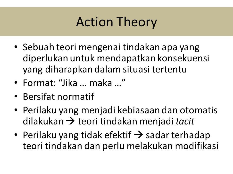Action Theory • Sebuah teori mengenai tindakan apa yang diperlukan untuk mendapatkan konsekuensi yang diharapkan dalam situasi tertentu • Format: Jika … maka … • Bersifat normatif • Perilaku yang menjadi kebiasaan dan otomatis dilakukan  teori tindakan menjadi tacit • Perilaku yang tidak efektif  sadar terhadap teori tindakan dan perlu melakukan modifikasi