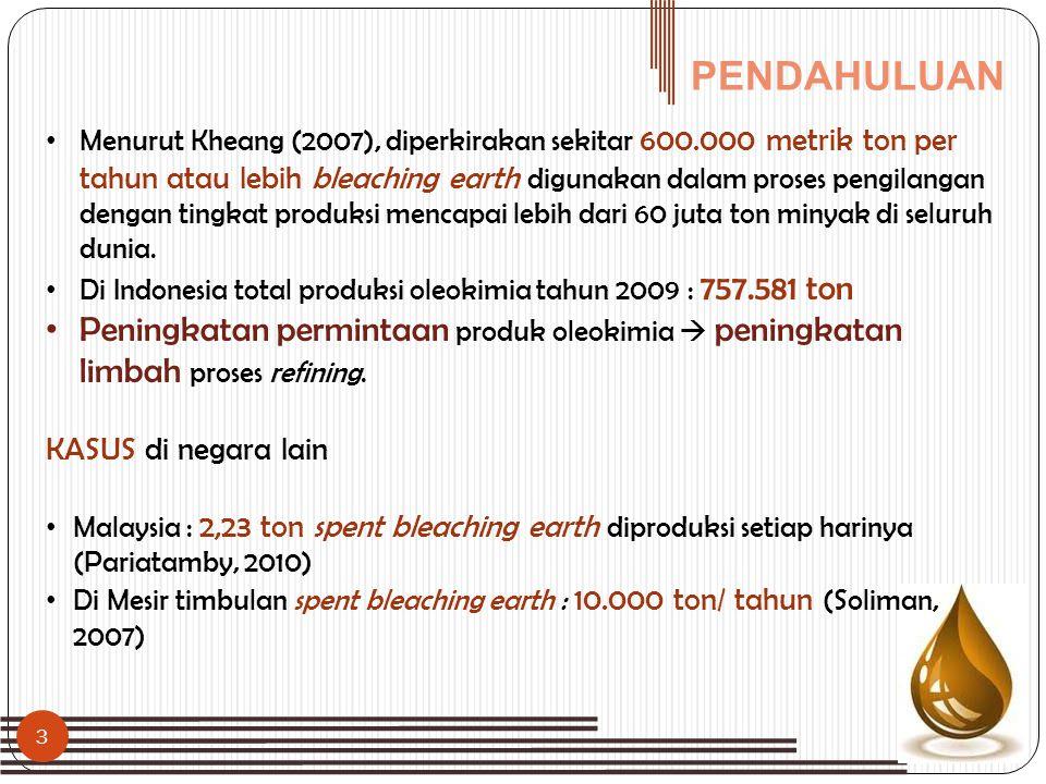 PENDAHULUAN • Menurut Kheang (2007), diperkirakan sekitar 600.000 metrik ton per tahun atau lebih bleaching earth digunakan dalam proses pengilangan d