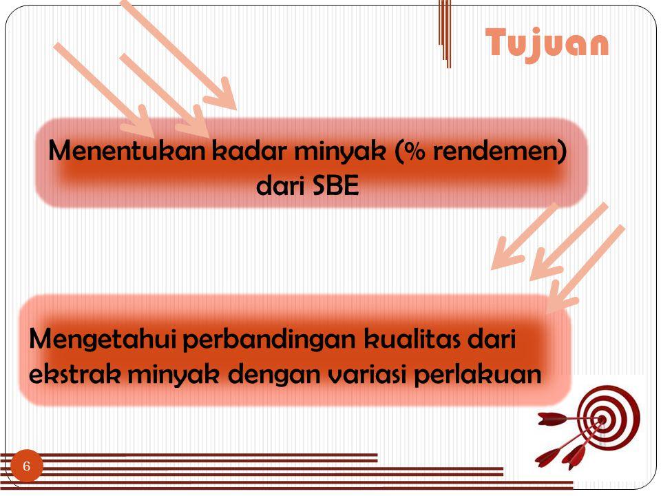 6 Tujuan Menentukan kadar minyak (% rendemen) dari SBE Mengetahui perbandingan kualitas dari ekstrak minyak dengan variasi perlakuan