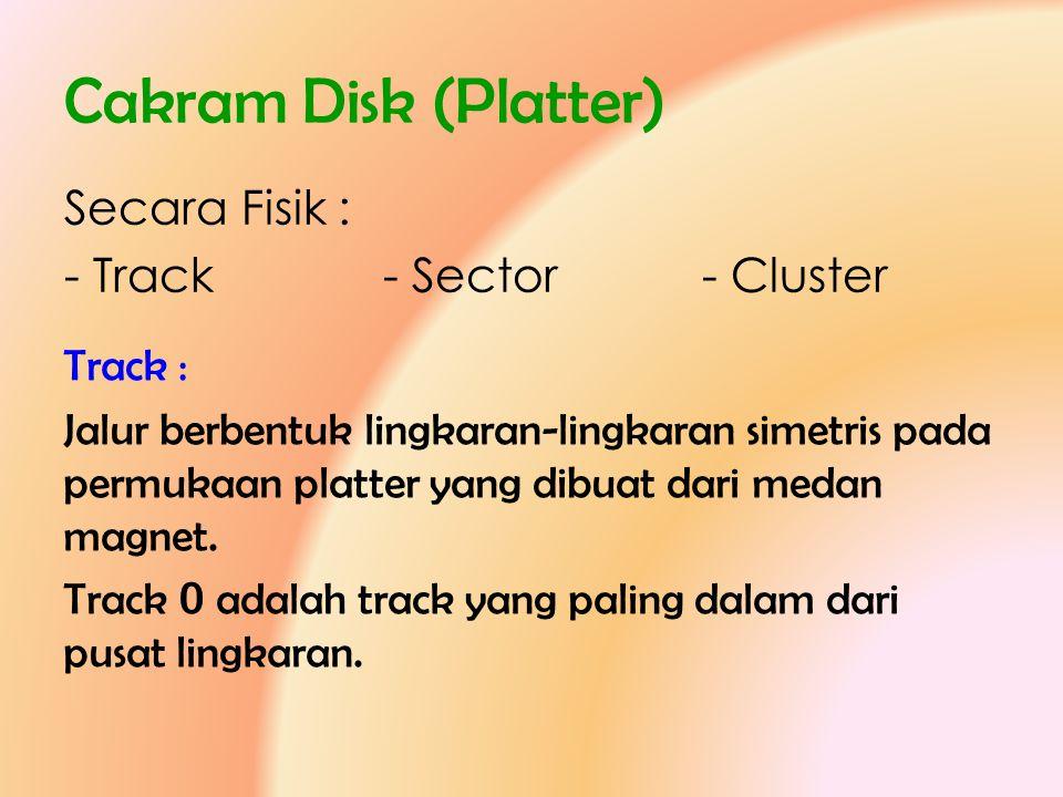 Cakram Disk (Platter) Secara Fisik : - Track- Sector- Cluster Track : Jalur berbentuk lingkaran-lingkaran simetris pada permukaan platter yang dibuat