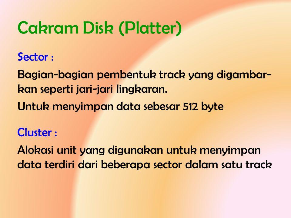 Cakram Disk (Platter) Sector : Bagian-bagian pembentuk track yang digambar- kan seperti jari-jari lingkaran. Untuk menyimpan data sebesar 512 byte Clu