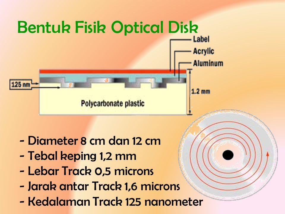 Bentuk Fisik Optical Disk - Diameter 8 cm dan 12 cm - Tebal keping 1,2 mm - Lebar Track 0,5 microns - Jarak antar Track 1,6 microns - Kedalaman Track