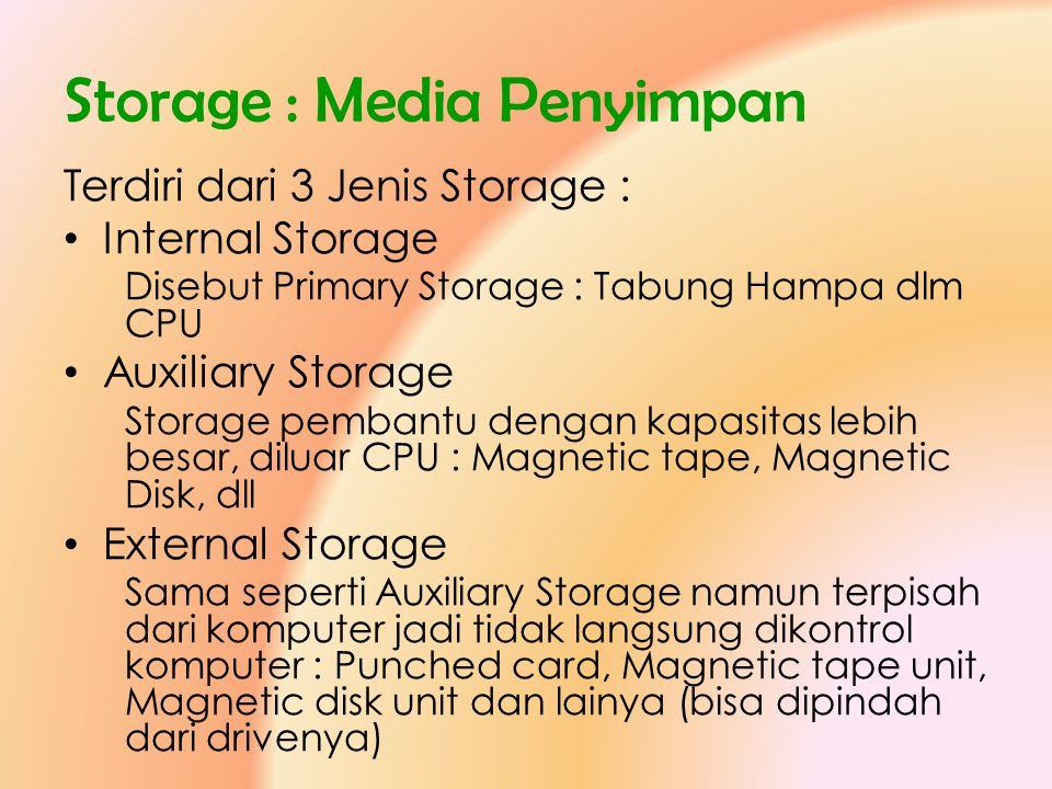 Storage : Media Penyimpan Terdiri dari 3 Jenis Storage : • Internal Storage Disebut Primary Storage : Tabung Hampa dlm CPU • Auxiliary Storage Storage