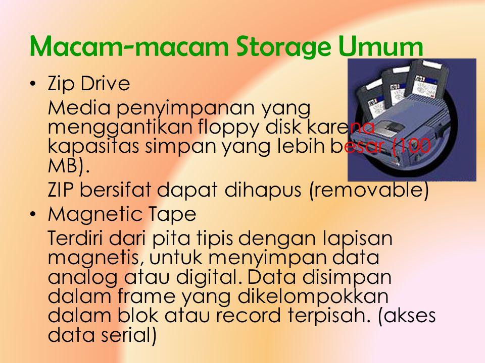 Macam-macam Storage Umum • Zip Drive Media penyimpanan yang menggantikan floppy disk karena kapasitas simpan yang lebih besar (100 MB). ZIP bersifat d