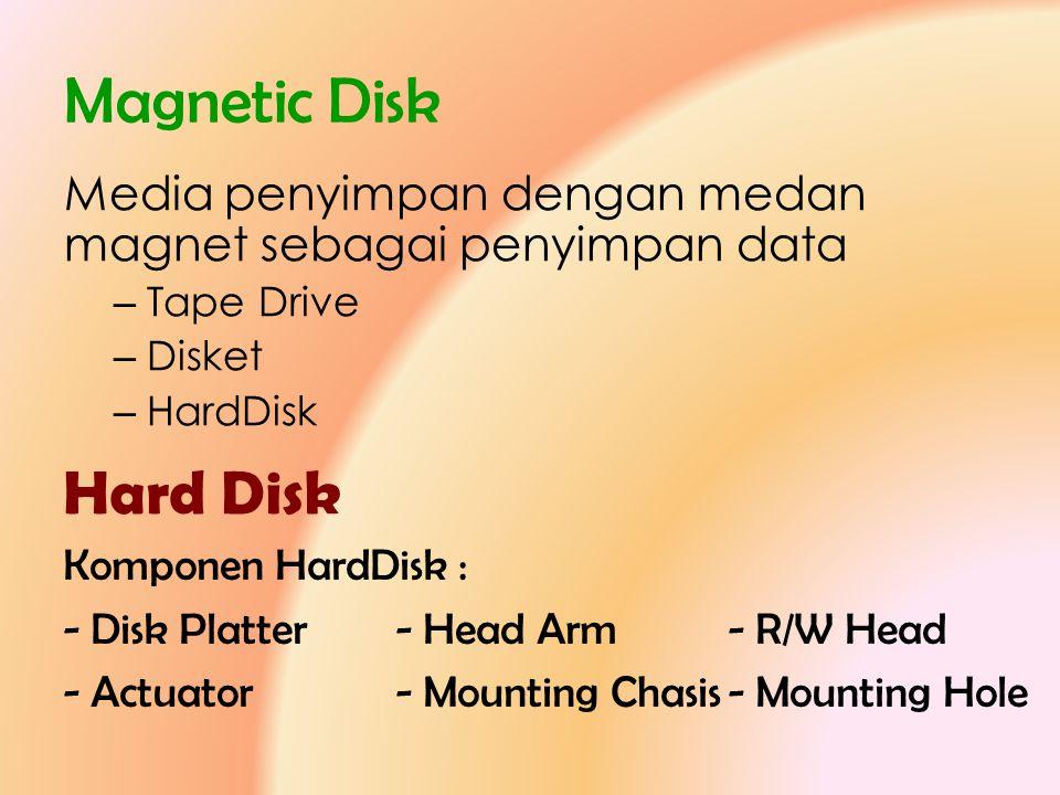 Magnetic Disk Media penyimpan dengan medan magnet sebagai penyimpan data – Tape Drive – Disket – HardDisk Hard Disk Komponen HardDisk : - Disk Platter