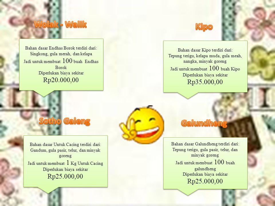 Bahan dasar Endhas Borok terdiri dari: Singkong, gula merah, dan kelapa Jadi untuk membuat 100 buah Endhas Borok Diperlukan biaya sekitar Rp20.000,00