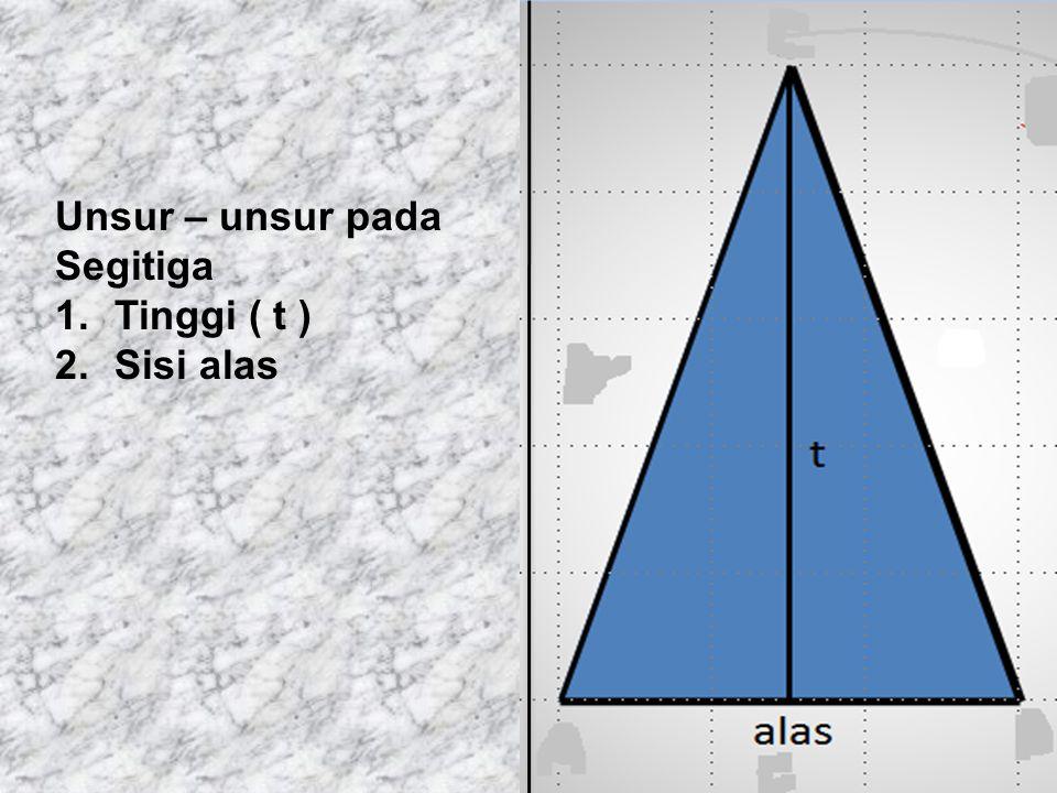 Unsur – unsur pada Segitiga 1.Tinggi ( t ) 2.Sisi alas