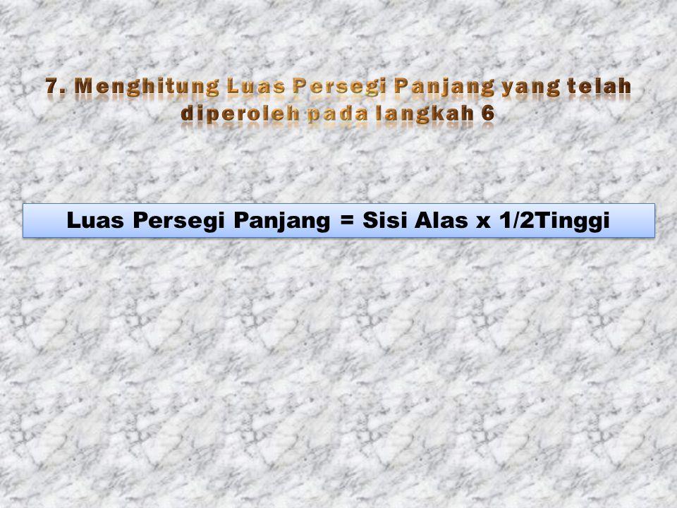 Luas Persegi Panjang = Sisi Alas x 1/2Tinggi