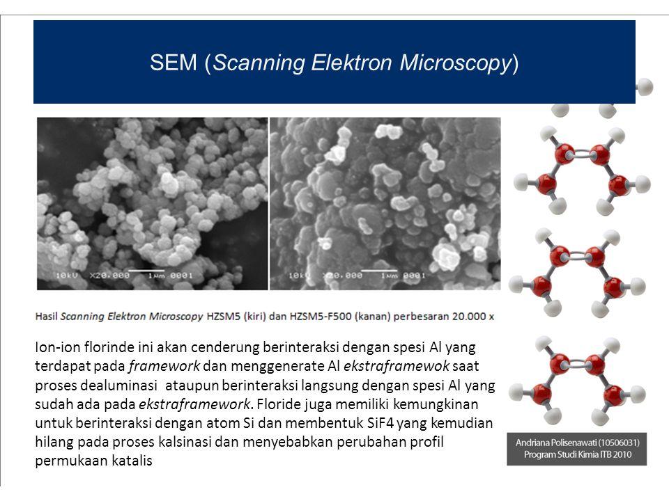 SEM (Scanning Elektron Microscopy) Ion-ion florinde ini akan cenderung berinteraksi dengan spesi Al yang terdapat pada framework dan menggenerate Al e