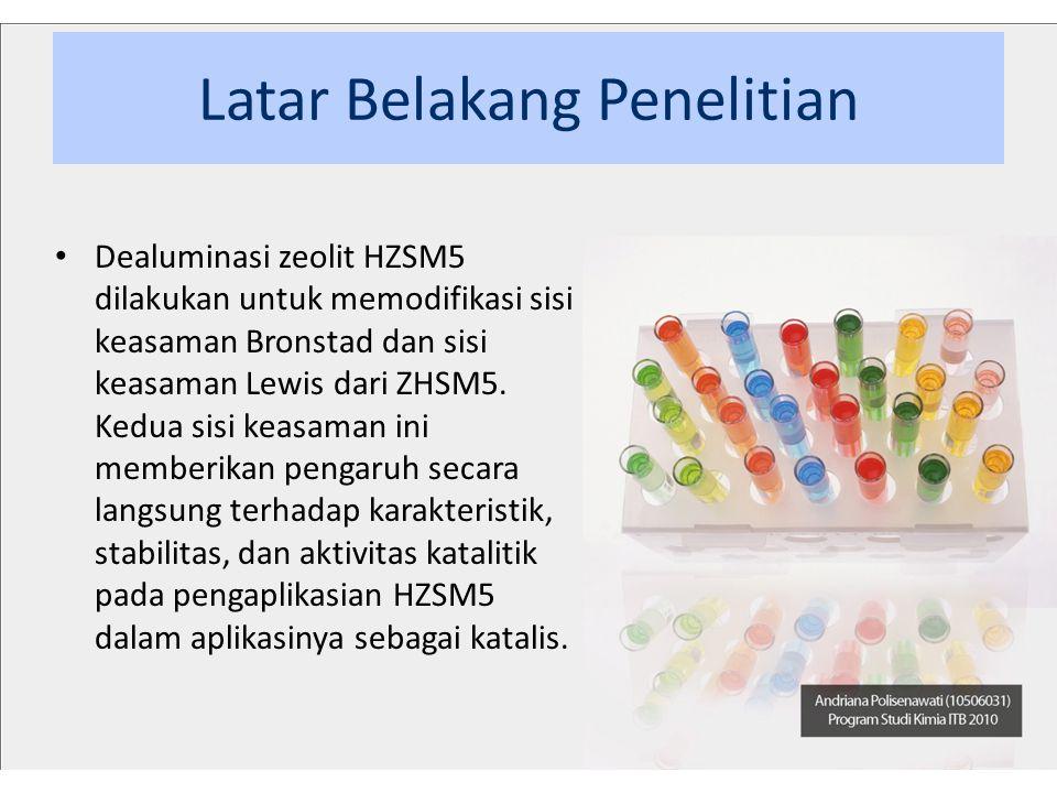 Tujuan Penelitian Karakterisasi dan analisis keasamaman dari zeolit HZSM5 yang telah melalui florinasi memiliki tujuan sebagai berikut : • melakukan karakterisasi terhadap HZSM5 murni dan HZSM5 terflorinasi; • menentukan keasaman Bronstead dan keasaman Lewis dari HZSM5 murni dan HZSM5 yang terflorinasi; • menganalisis pengaruh florinasi terhadap karakteristik zeolit HZSM5; • menganalisis pengaruh florinasi terhadap jumlah sisi keasaman Bronstead dan sisi keasaman Lewis.