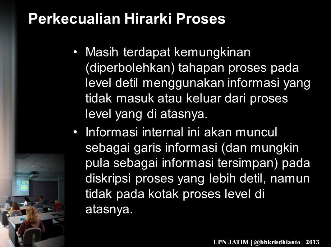 UPN JATIM | @bhkrisdhianto - 2013 Perkecualian Hirarki Proses •Masih terdapat kemungkinan (diperbolehkan) tahapan proses pada level detil menggunakan informasi yang tidak masuk atau keluar dari proses level yang di atasnya.