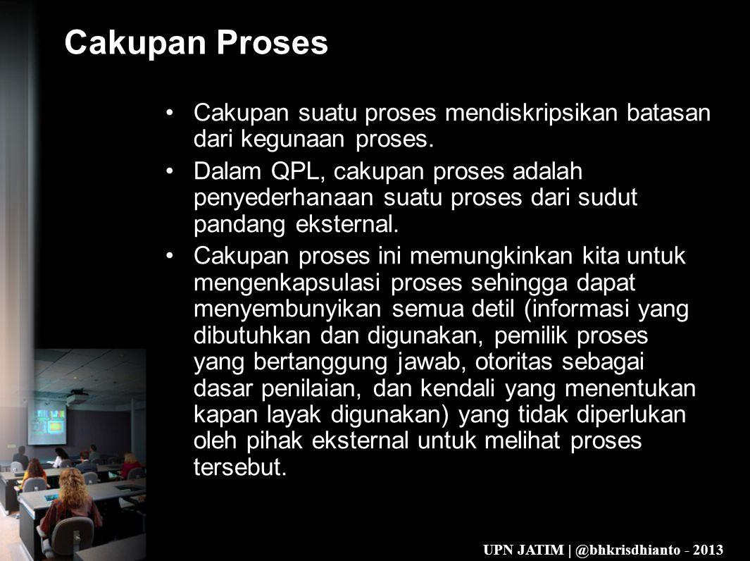 UPN JATIM | @bhkrisdhianto - 2013 Cakupan Proses •Cakupan suatu proses mendiskripsikan batasan dari kegunaan proses.