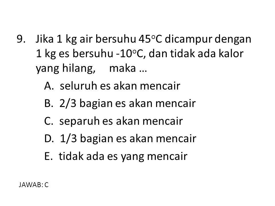 9. Jika 1 kg air bersuhu 45 o C dicampur dengan 1 kg es bersuhu -10 o C, dan tidak ada kalor yang hilang, maka … A. seluruh es akan mencair B. 2/3 bag
