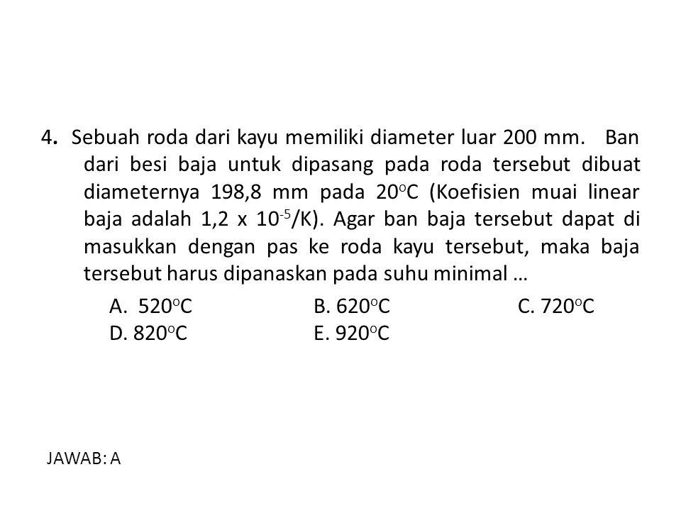 5.Dua batang logam (aluminium dan tembaga) pada temperatur 30 o C panjangnya 1 m.