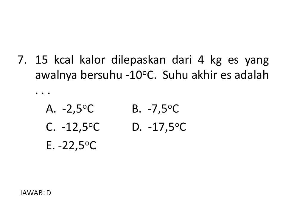 7.15 kcal kalor dilepaskan dari 4 kg es yang awalnya bersuhu -10 o C. Suhu akhir es adalah... A. -2,5 o CB. -7,5 o C C. -12,5 o C D. -17,5 o C E. -22,
