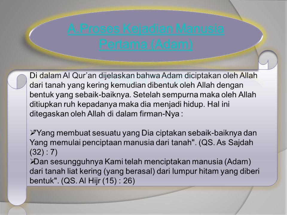 Di dalam salah satu Hadits yang diriwayatkan oleh Bukhari dan Muslim dijelaskan : Maka sesungguhnya perempuan itu diciptakan dari tulang rusuk Adam (HR.