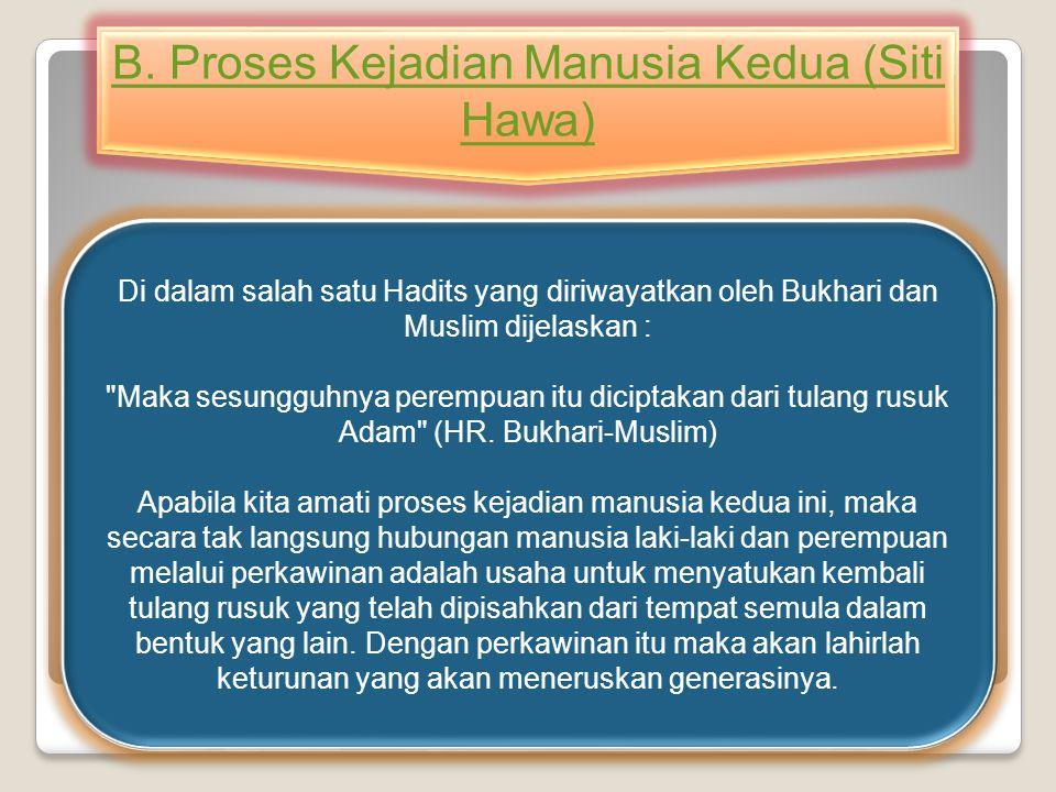 Di dalam salah satu Hadits yang diriwayatkan oleh Bukhari dan Muslim dijelaskan :