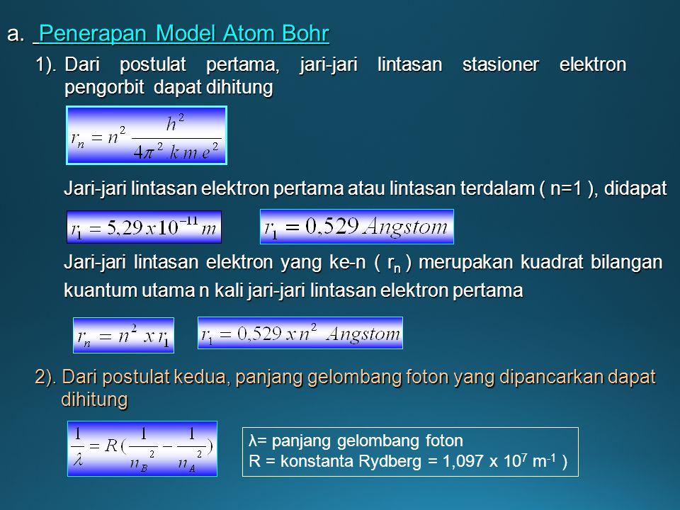 Jika atom mendapat tambahan energi dari luar ( menyerap energi ), maka elektron akan meloncat dari lintasan dengan energi lebih rendah ke lintasan den