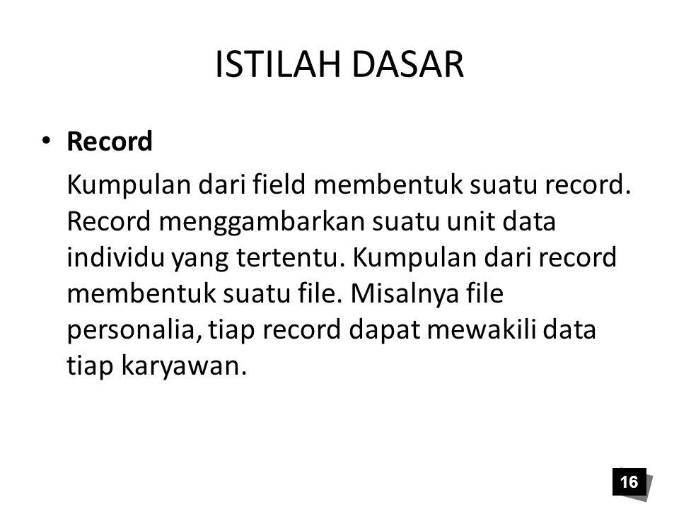 ISTILAH DASAR • Record Kumpulan dari field membentuk suatu record. Record menggambarkan suatu unit data individu yang tertentu. Kumpulan dari record m