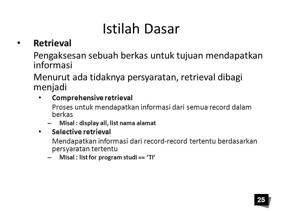 Istilah Dasar • Retrieval Pengaksesan sebuah berkas untuk tujuan mendapatkan informasi Menurut ada tidaknya persyaratan, retrieval dibagi menjadi • Co