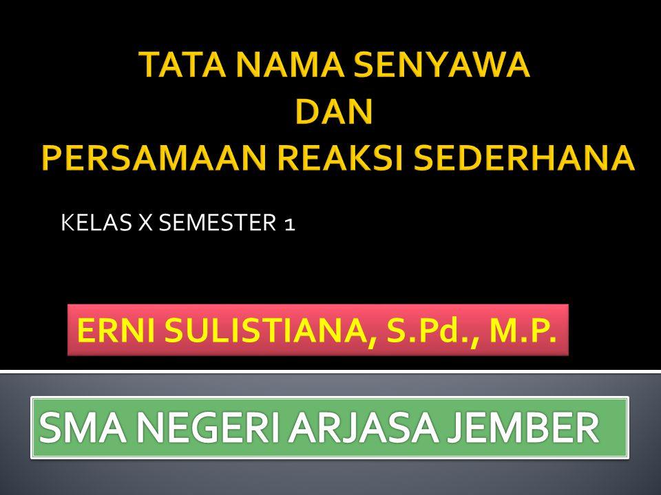 KELAS X SEMESTER 1 ERNI SULISTIANA, S.Pd., M.P.