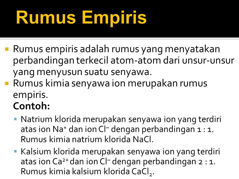  Rumus empiris adalah rumus yang menyatakan perbandingan terkecil atom-atom dari unsur-unsur yang menyusun suatu senyawa.  Rumus kimia senyawa ion m