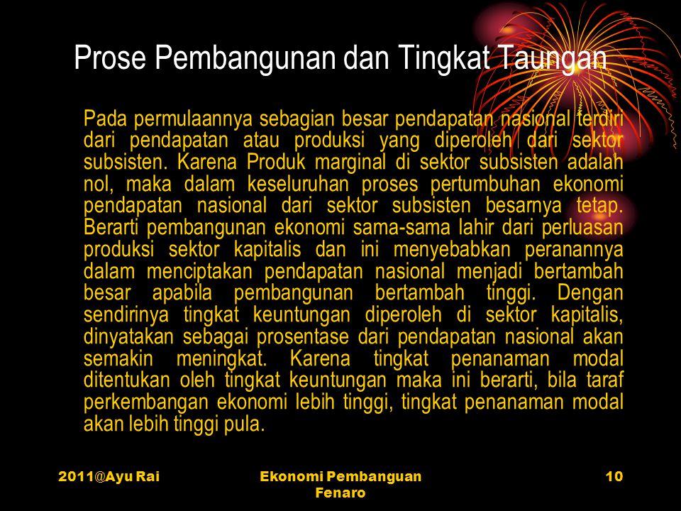 2011@Ayu RaiEkonomi Pembanguan Fenaro 10 Prose Pembangunan dan Tingkat Taungan Pada permulaannya sebagian besar pendapatan nasional terdiri dari penda