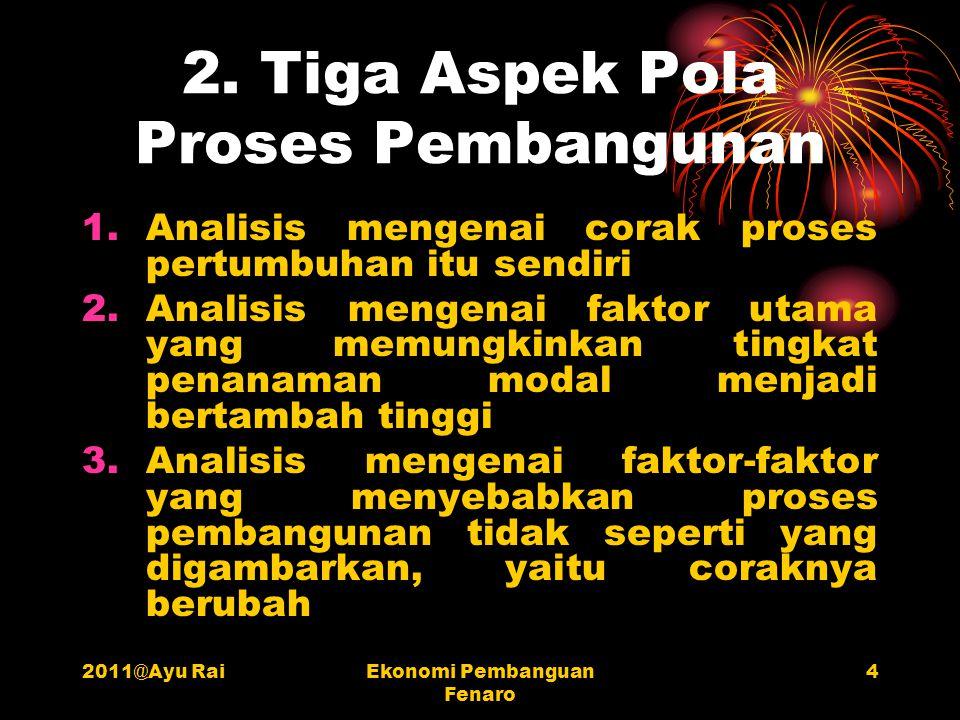 2011@Ayu RaiEkonomi Pembanguan Fenaro 4 2. Tiga Aspek Pola Proses Pembangunan 1.Analisis mengenai corak proses pertumbuhan itu sendiri 2.Analisis meng
