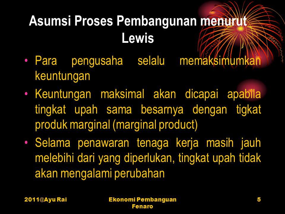 2011@Ayu RaiEkonomi Pembanguan Fenaro 5 Asumsi Proses Pembangunan menurut Lewis •P•Para pengusaha selalu memaksimumkan keuntungan •K•Keuntungan maksim