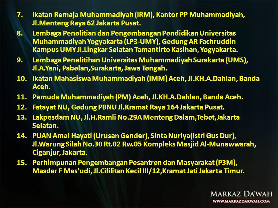 7.Ikatan Remaja Muhammadiyah (IRM), Kantor PP Muhammadiyah, Jl.Menteng Raya 62 Jakarta Pusat.