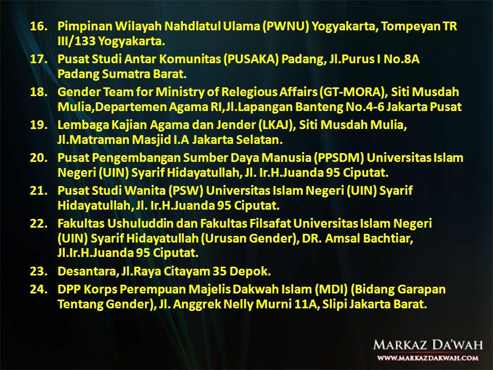 16.Pimpinan Wilayah Nahdlatul Ulama (PWNU) Yogyakarta, Tompeyan TR III/133 Yogyakarta.