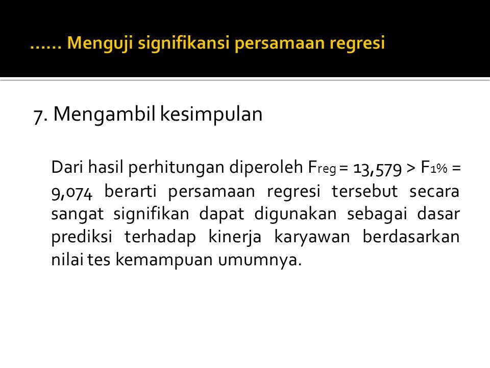 6. Menghitung F reg F reg Untuk F 5% (tabel alpha = 0,05) Lihat baris pada angka 13 (sesuai dbres) dan kolom pada angka 1 (sesuai db reg ) diperoleh F