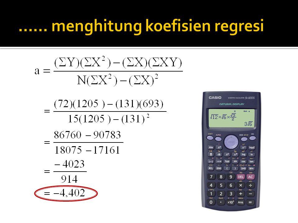 1. Menghitung koefisien regresi