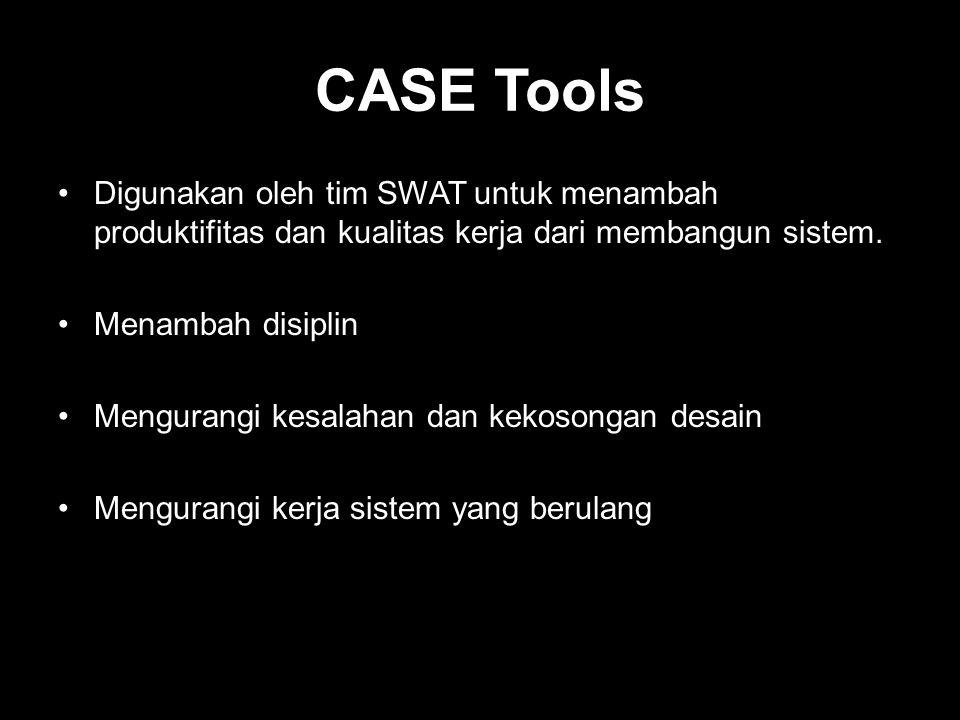 CASE Tools •Digunakan oleh tim SWAT untuk menambah produktifitas dan kualitas kerja dari membangun sistem. •Menambah disiplin •Mengurangi kesalahan da