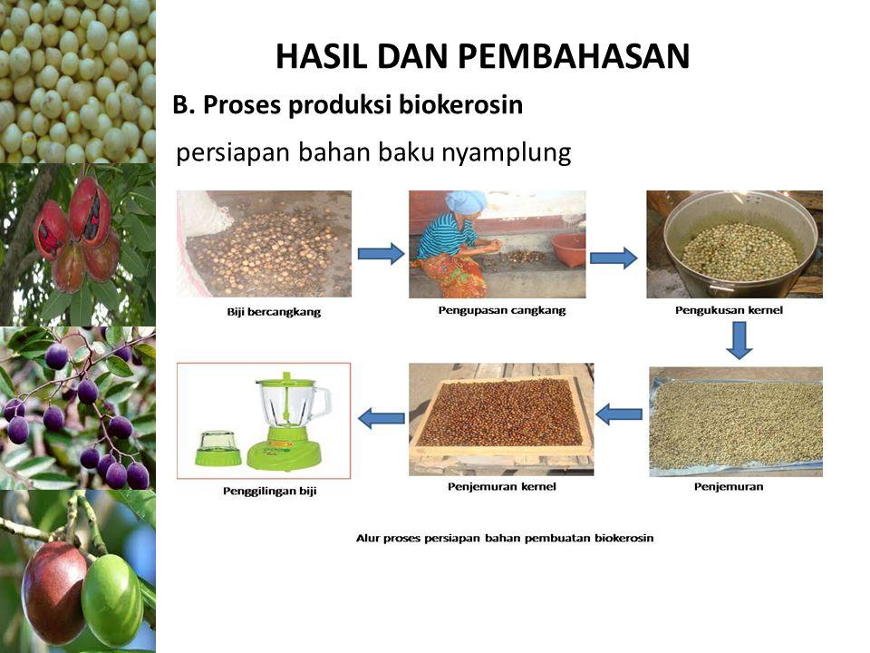 HASIL DAN PEMBAHASAN B. Proses produksi biokerosin persiapan bahan baku nyamplung