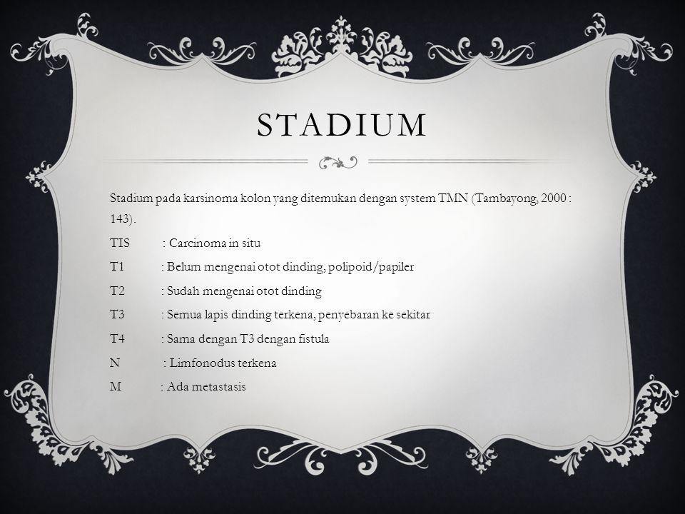 STADIUM Stadium pada karsinoma kolon yang ditemukan dengan system TMN (Tambayong, 2000 : 143). TIS : Carcinoma in situ T1 : Belum mengenai otot dindin