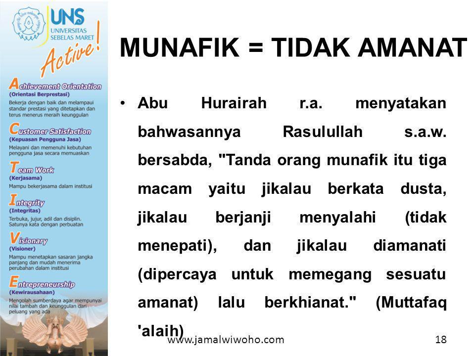 •Abu Hurairah r.a.menyatakan bahwasannya Rasulullah s.a.w.