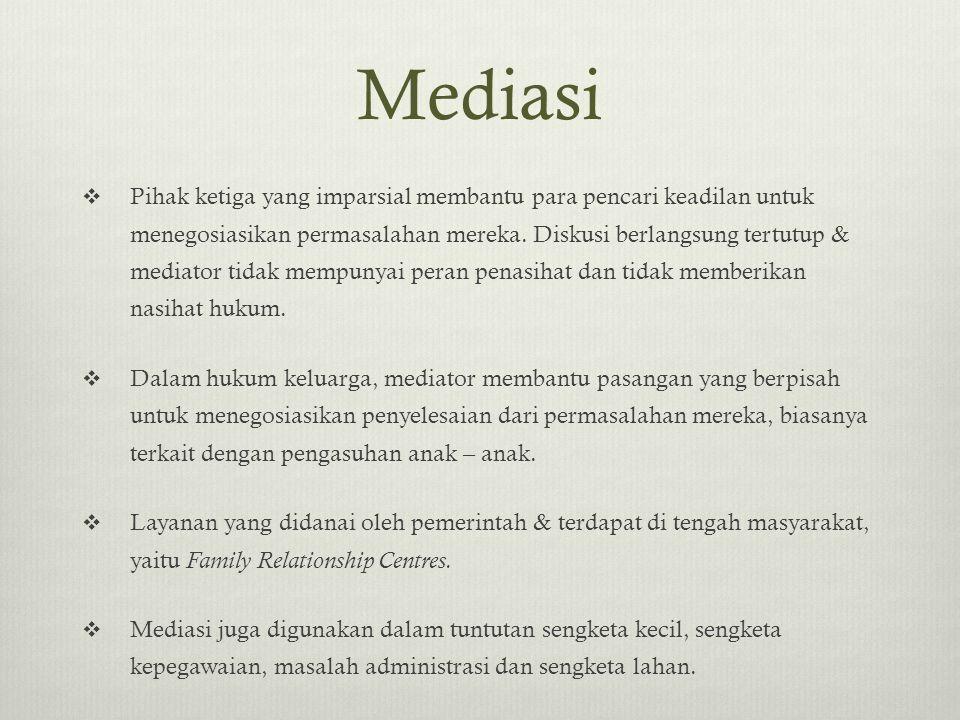 Mediasi  Pihak ketiga yang imparsial membantu para pencari keadilan untuk menegosiasikan permasalahan mereka. Diskusi berlangsung tertutup & mediator