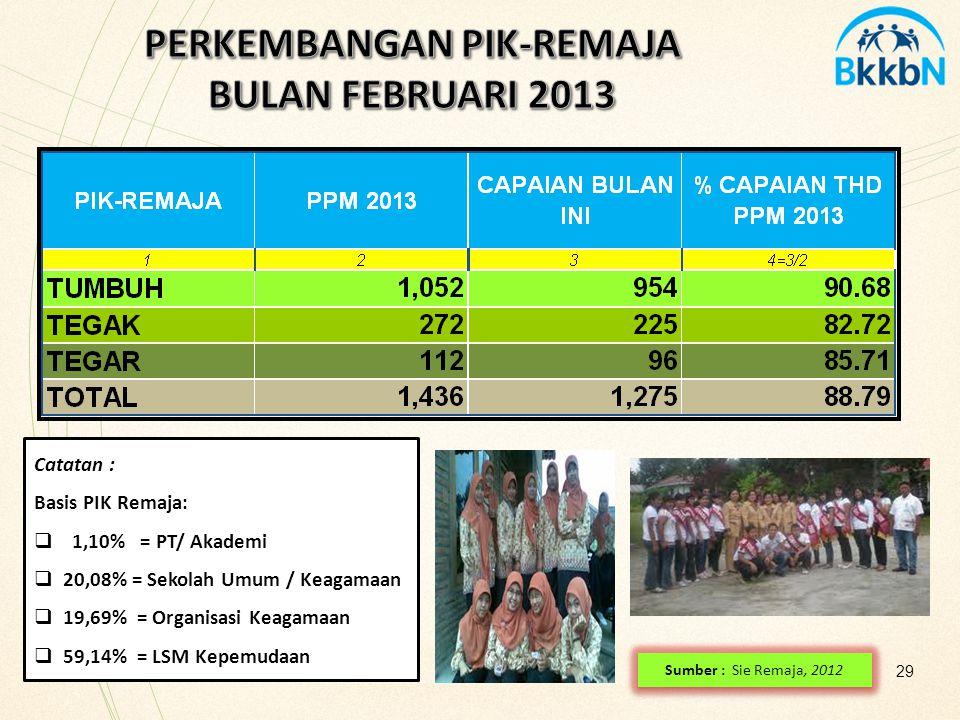 29 Sumber : Sie Remaja, 2012 Catatan : Basis PIK Remaja:  1,10% = PT/ Akademi  20,08% = Sekolah Umum / Keagamaan  19,69% = Organisasi Keagamaan  5