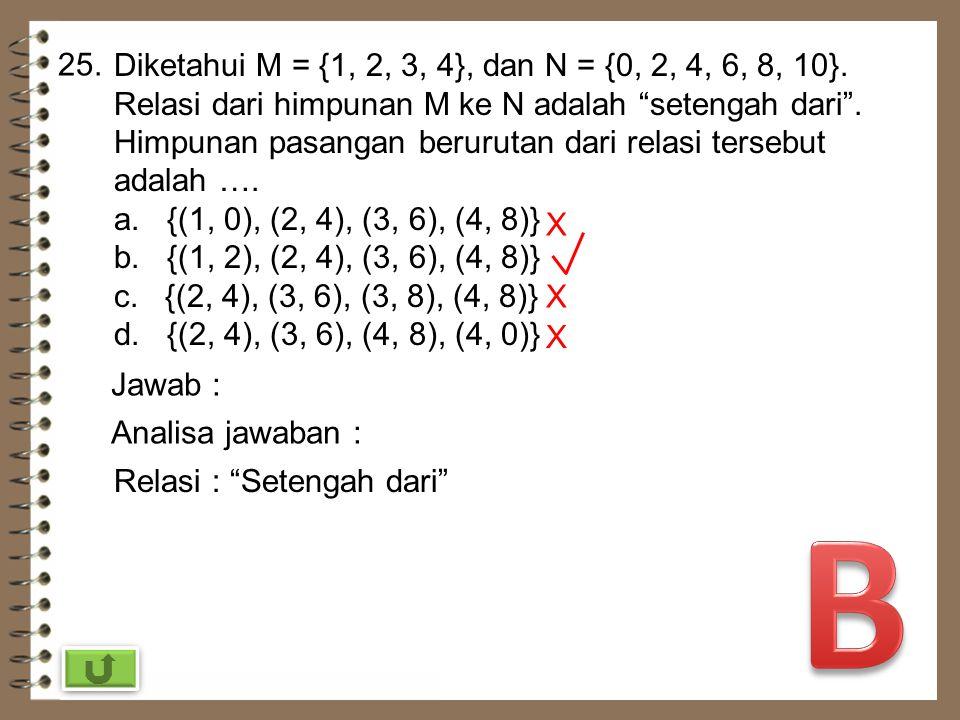 24. Perhatikan diagram panah ! Yang merupakan kodomain adalah …. a.{2, 3, 5} c. {4, 6} b.{4, 6, 8}d. { 8 } Jawab : Kodomain = kaerah kawan Kodomain =