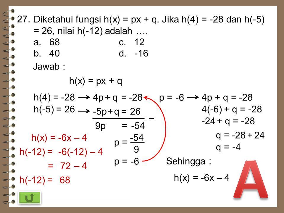 26. Diketahui f(x) = 2x – 9. Jika f(c) = -1, nilai c adalah …. a. -11c. 4 b. -10d. 8 Jawab : f(x) = 2x – 9 f(c) = -1f(c) = 2c–9= 2c =+9 2c =8 c =4