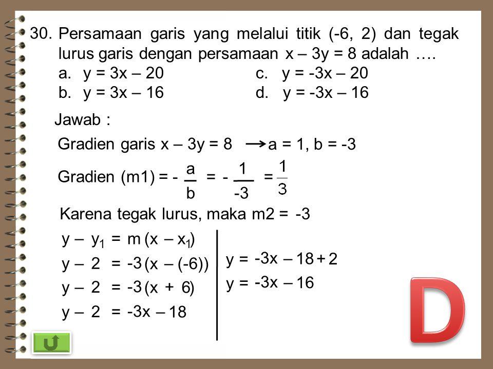 29. Gradien garis yang melalui titik A(1, 4) dan B(0, 2) adalah …. a.2c. -2 b. d. - Jawab : Gradien titik A(1, 4) dan B(0, 2) m = y 2 –y 1 x 2 –x 1 =