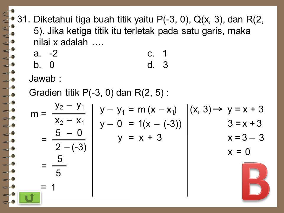 30. Persamaan garis yang melalui titik (-6, 2) dan tegak lurus garis dengan persamaan x – 3y = 8 adalah …. a.y = 3x – 20 c. y = -3x – 20 b.y = 3x – 16