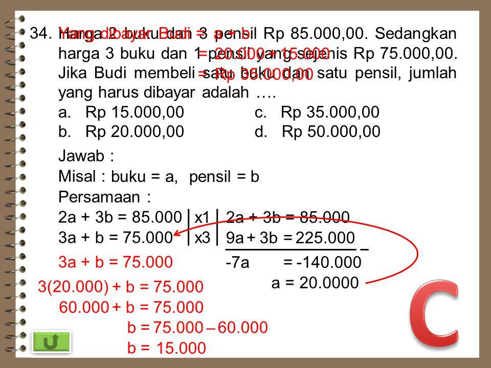 33. a dan b merupakan penyelesaian sistem persamaan linear a + b = 6 dan 2a – b = 0. Nilai 3a – b adalah …. a. 4c. -2 b. 2d. -4 Jawab : a + b = 6 2a –