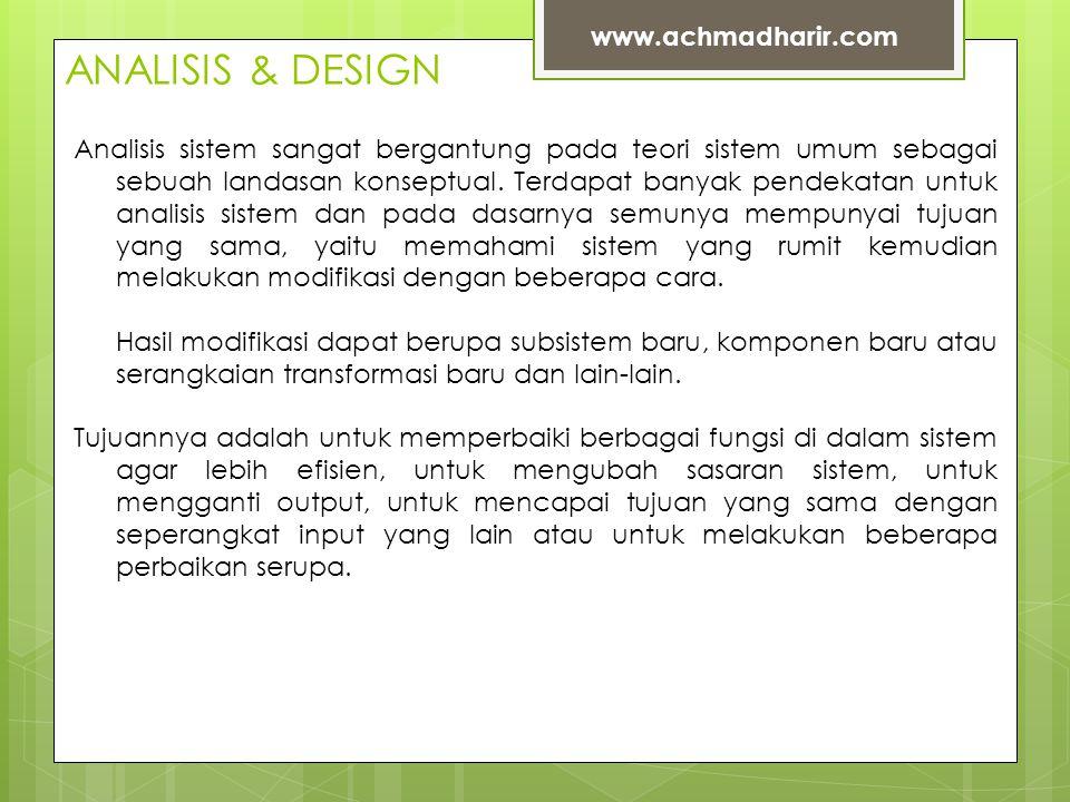 ANALISIS & DESIGN www.achmadharir.com Analisis sistem sangat bergantung pada teori sistem umum sebagai sebuah landasan konseptual.